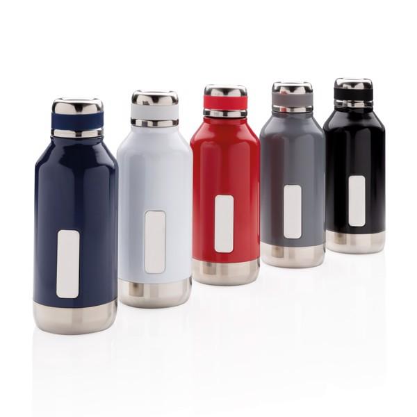 Nepropustná termo láhev s plíškem na logo - Šedá