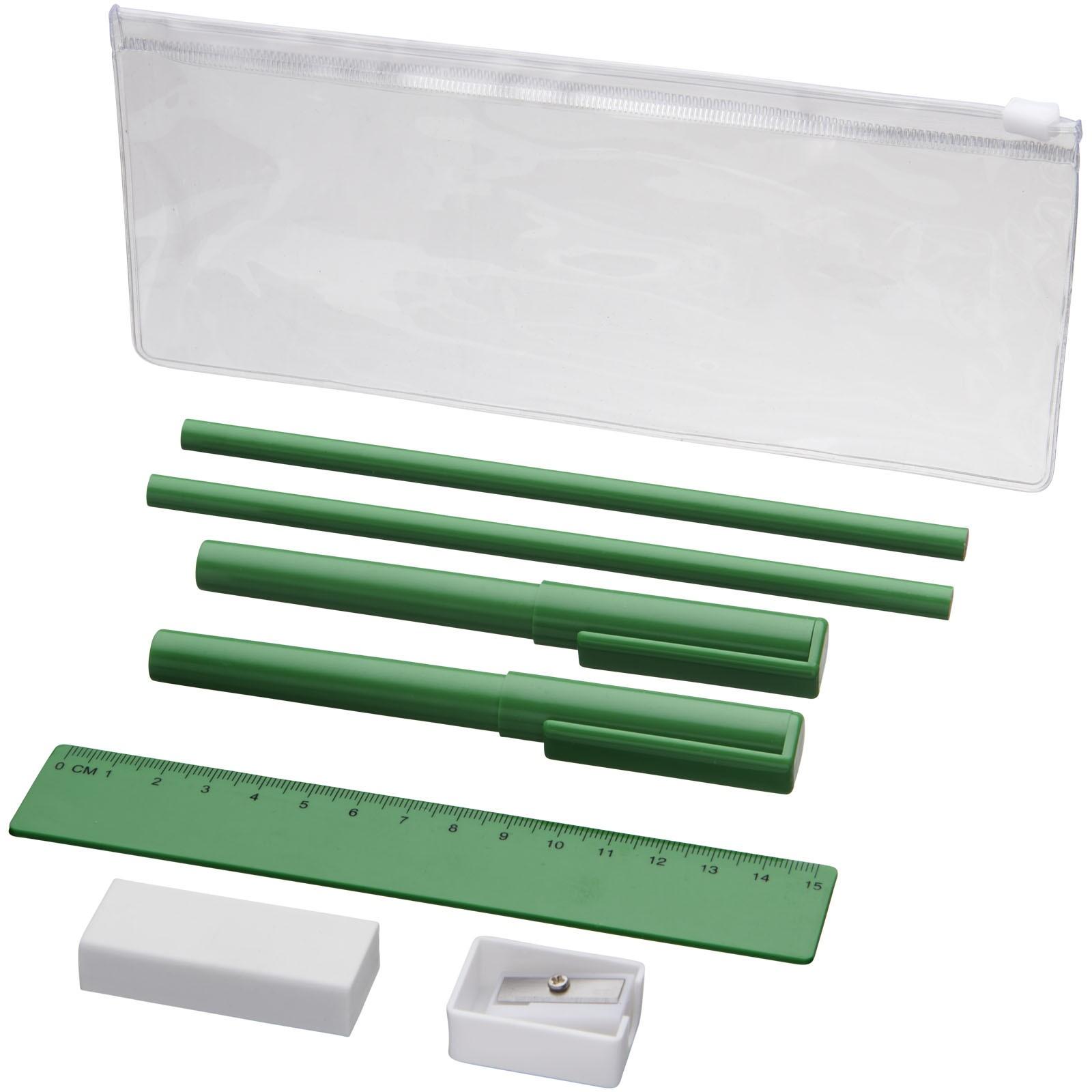 Mindy 8-piece pencil case set - Green