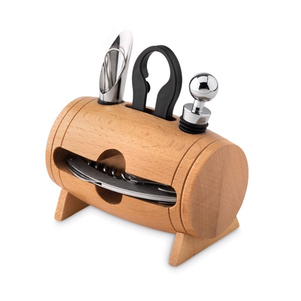 4 pcs wine set in wooden stand Bota