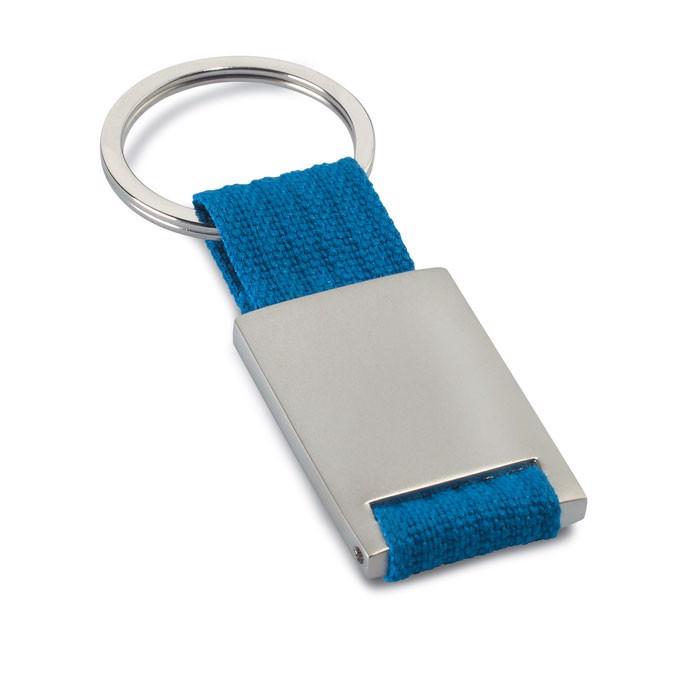 Metal rectangular key ring Tech - Blue