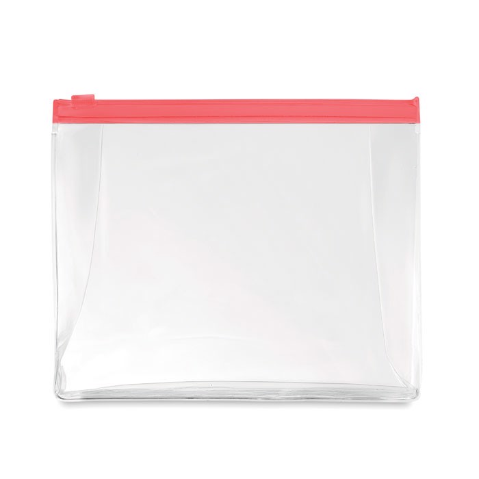 Cosmetic pouch with zipper Cosmobag - Transparent Red