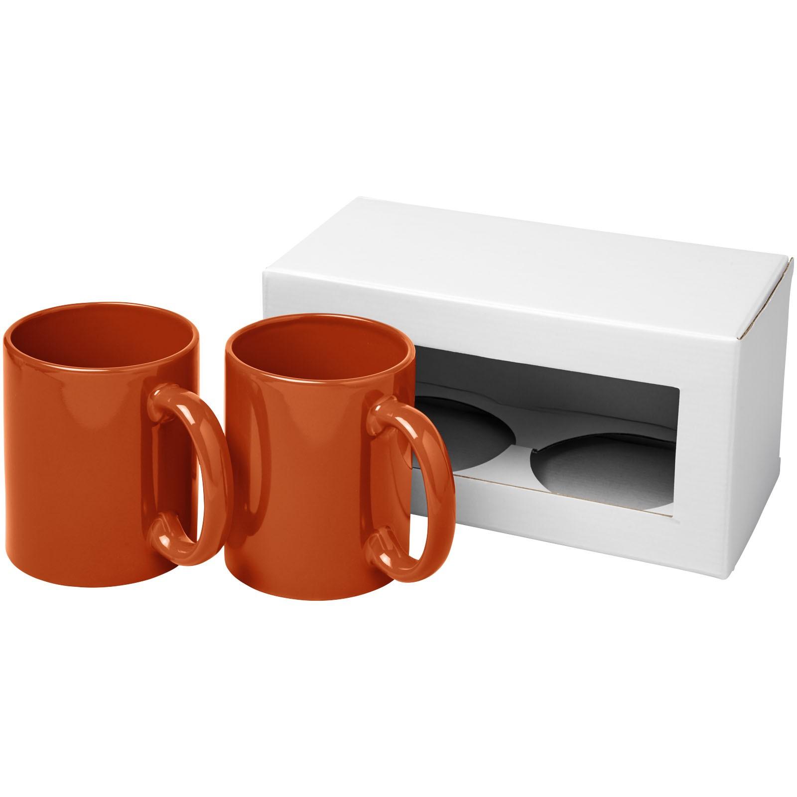 Ceramic Geschenkset mit 2 Bechern - Orange