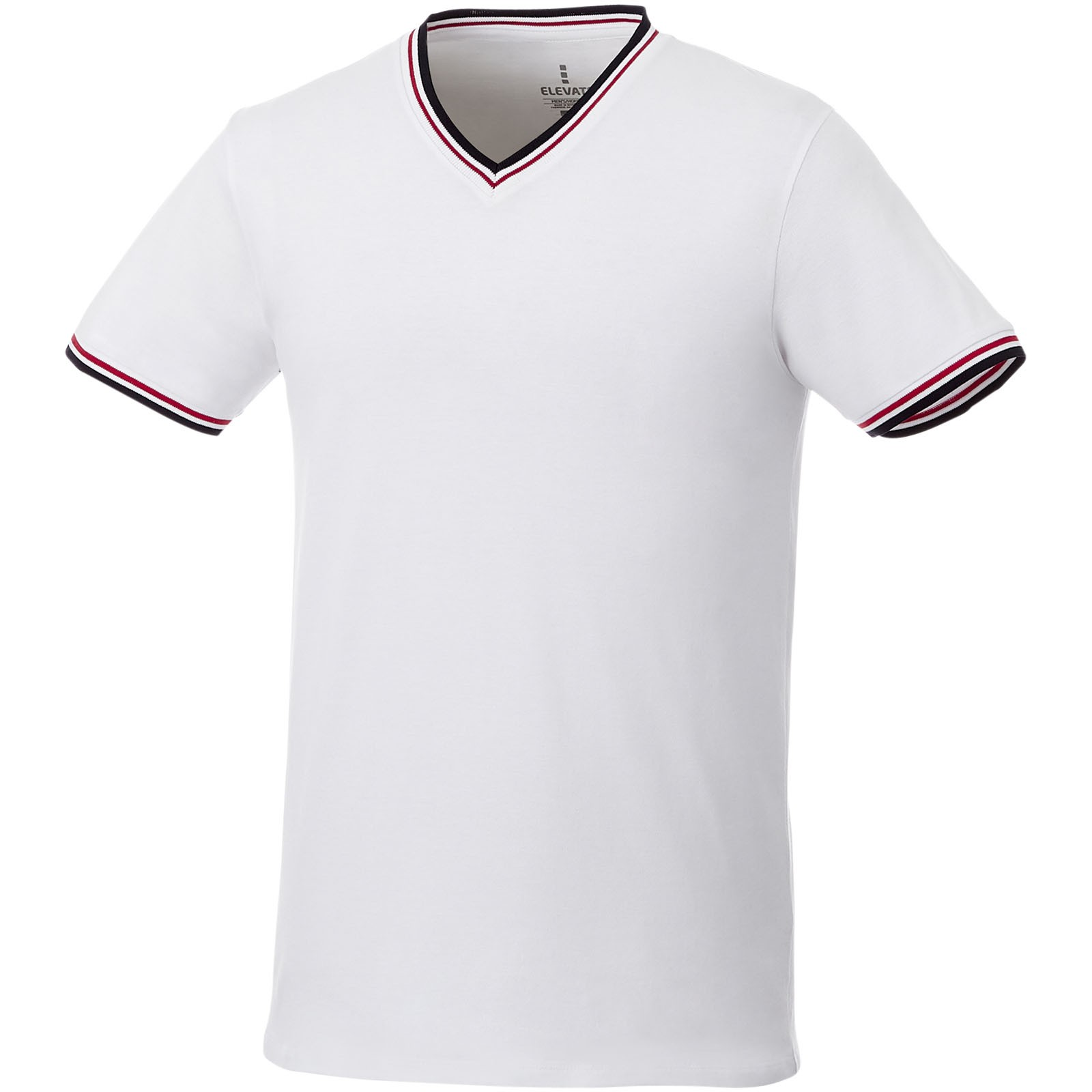 Elbert short sleeve men's pique t-shirt - White / Navy / Red / XS