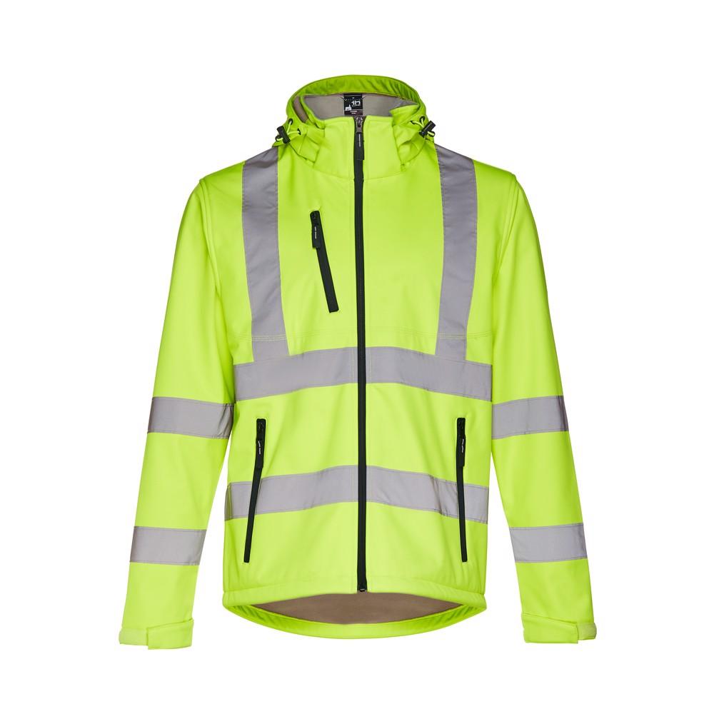 THC ZAGREB WORK. Vysoce viditelná softshellová bunda pro muže, se snímatelnou kapucí - Fluorescenční Žlutá / S