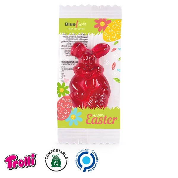 "Jelly Gum Single, Standard Shape ""Bunny*"", Compostable Foil - White"