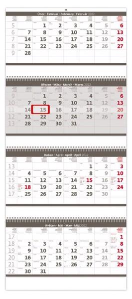 Čtyřměsíční kalendář Skládanýn 2022 - šedý