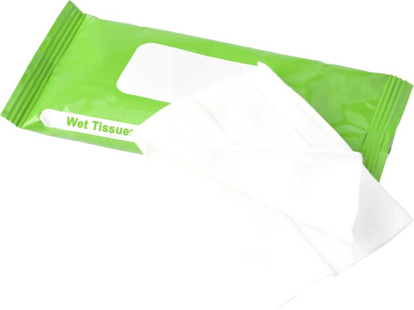 Plastic bag with 10 wet tissues - White