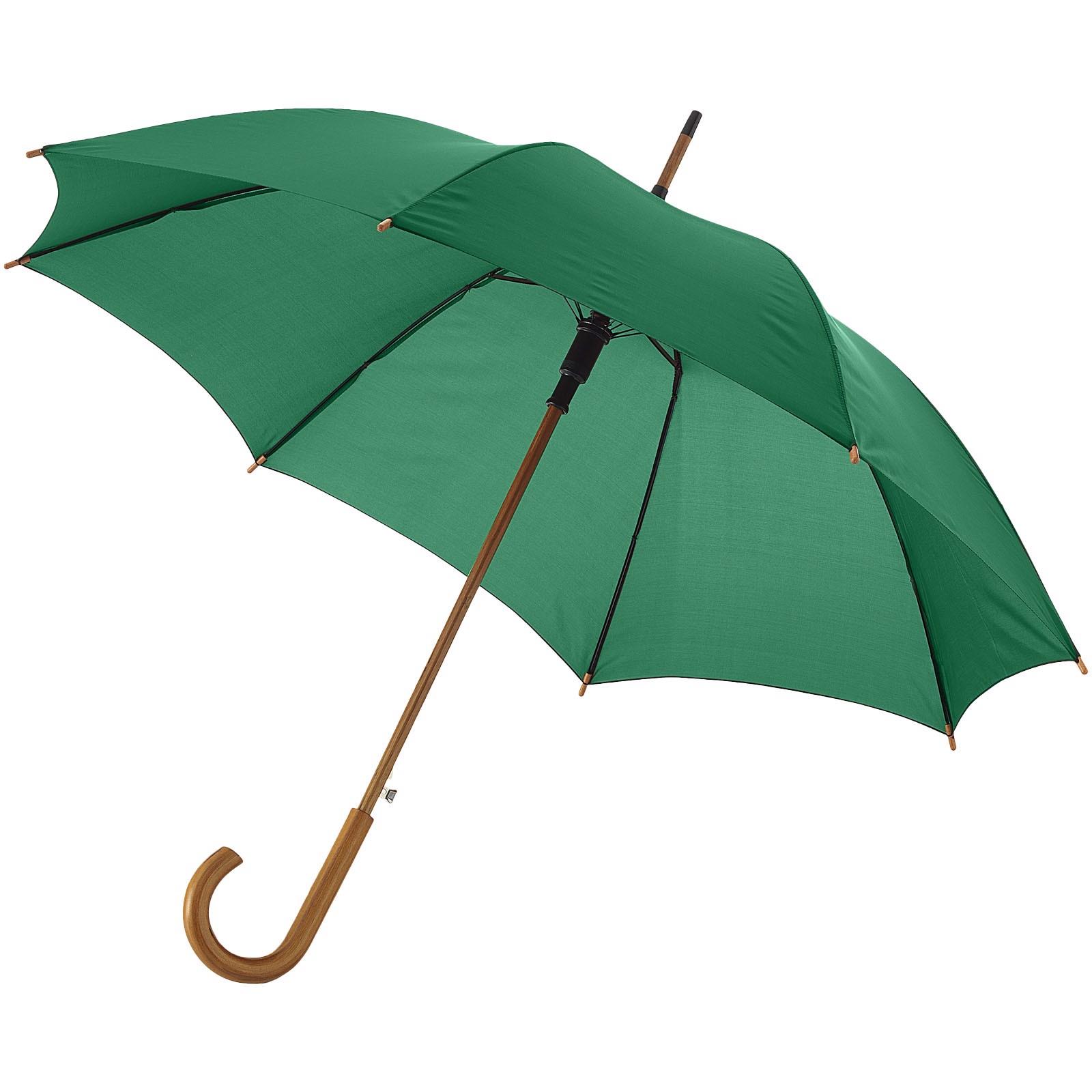 """23"""" deštník Kyle s automatickým otvíráním a dřevěnou tyčí a rukojetí - Zelená"""