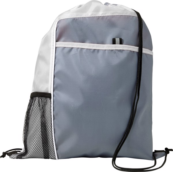 Polyester (210D) drawstring backpack - White