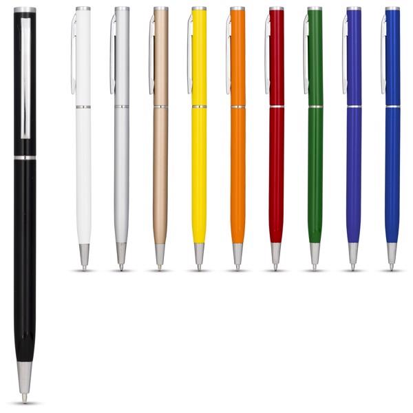 Hhliníkové kuličkové pero Slim - Bílá