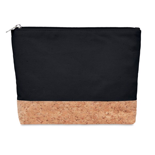Cork & cotton cosmetic bag Porto Bag - Black