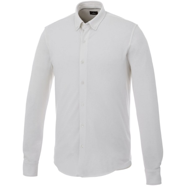 Bigelow long sleeve men's pique shirt - White / 3XL