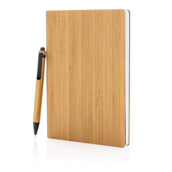 Bambusový set poznámkového bloku A5 a pera
