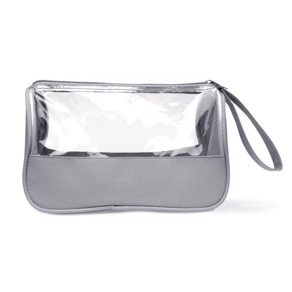 Toiletry bag microfiber w PVC Plas - Grey