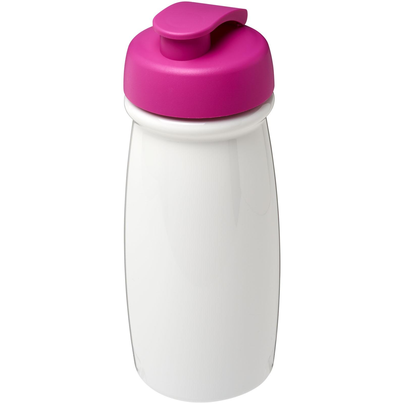 H2O Pulse® 600 ml flip lid sport bottle - White / Pink