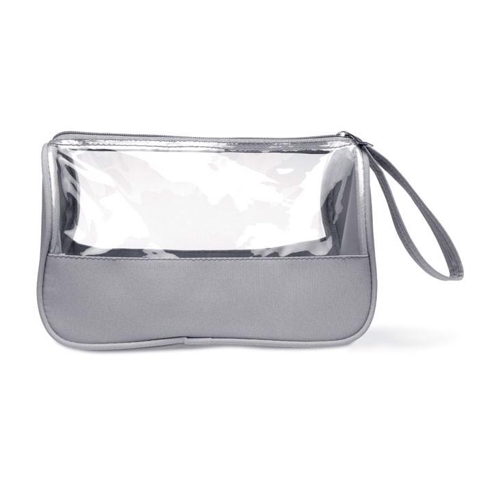 Toiletry bag microfiber w PVC Plas - Grey