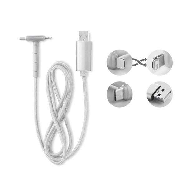 Charging cable 3 in 1 stand Cable Stand - Silver