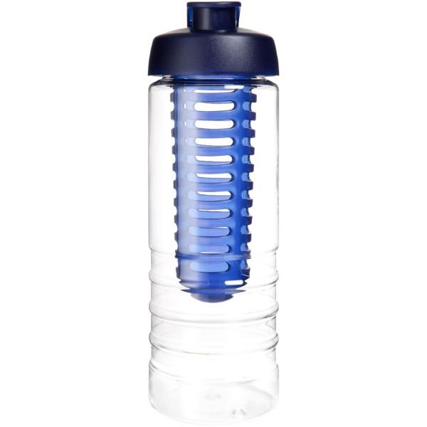 H2O Treble 750 ml Flasche mit Klappdeckel und Infusor - Transparent / Blau