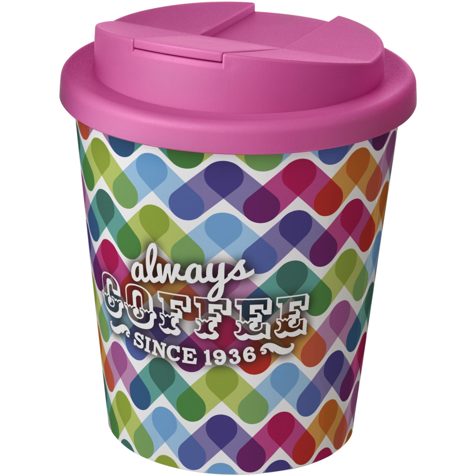 Brite-Americano Espresso® 250 ml con tapa antigoteo - Blanco / Rosa