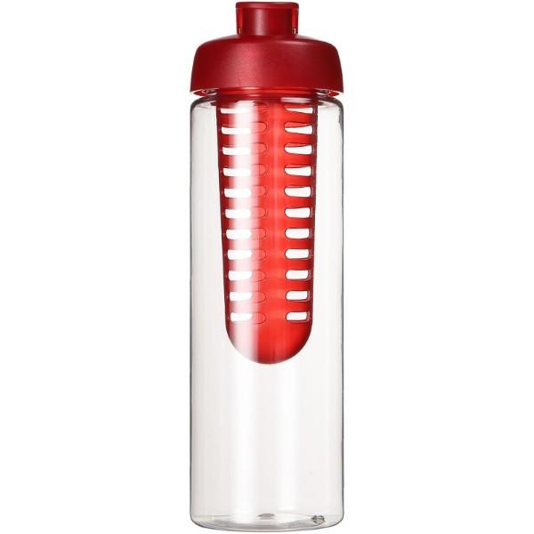 H2O Vibe 850 ml flip lid bottle & infuser - Transparent / Red