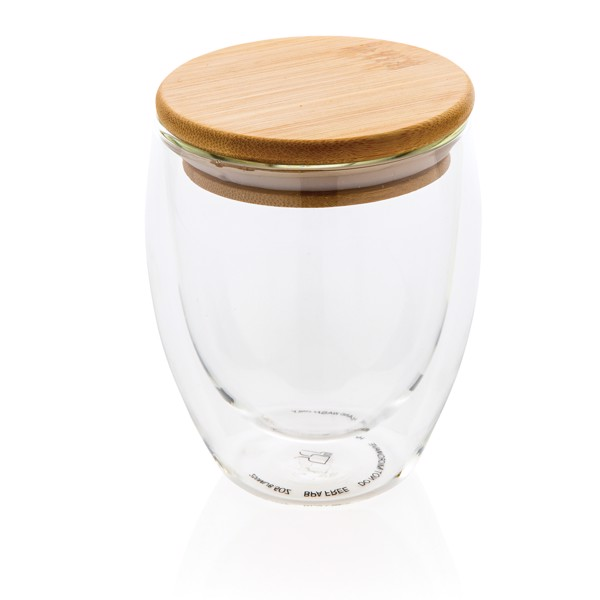 Double wall borosilicate glass with bamboo lid 250ml