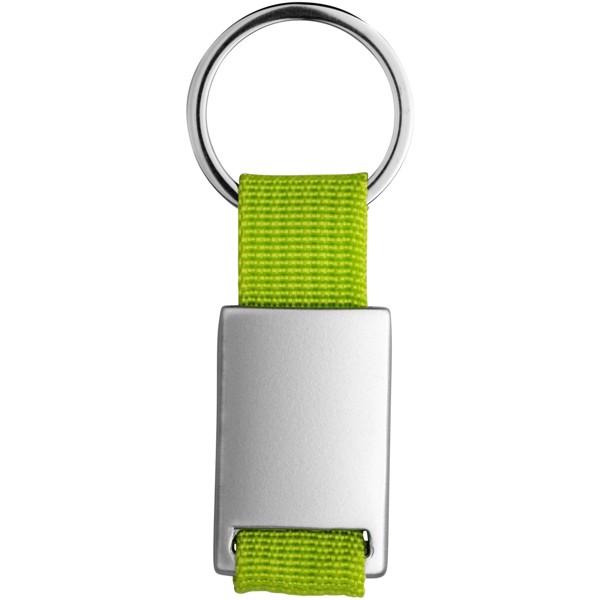 Přívěsek na klíče Alvaro s tkaným páskem - Limetkově zelená / Stříbrný