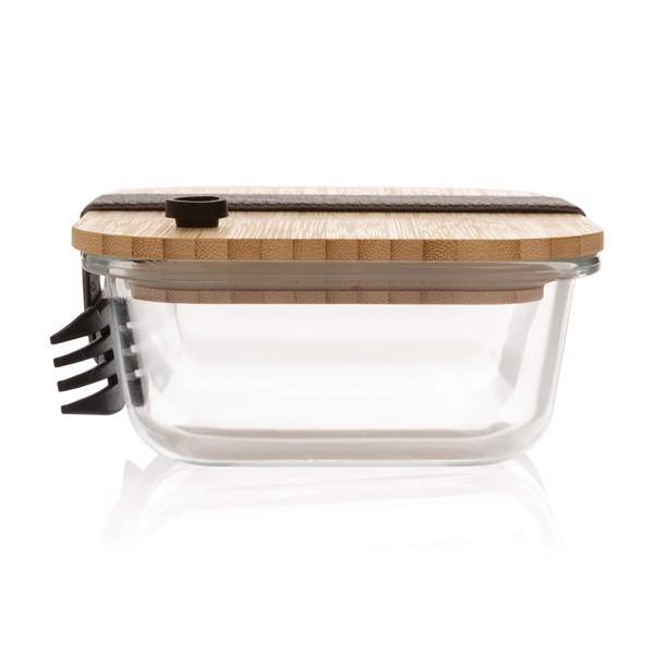 Steklena škatla za malico s pokrovom iz bambusa