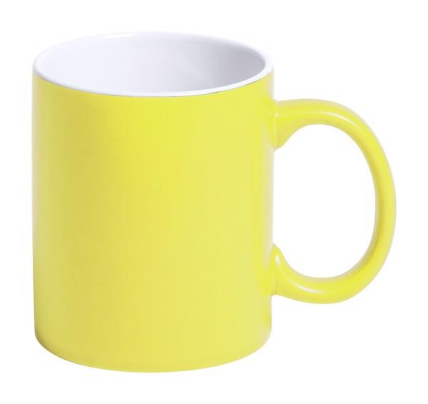 Hrnek Lousa - Žlutá / Bílá