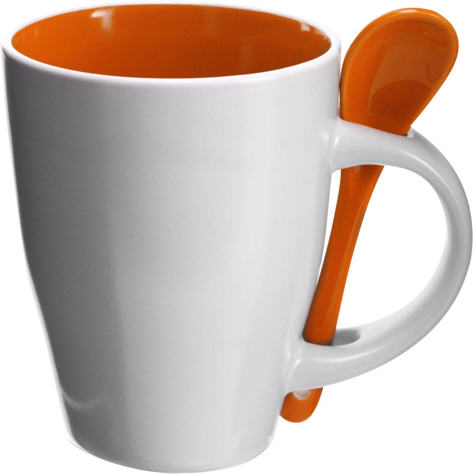 Ceramic mug with spoon - Orange