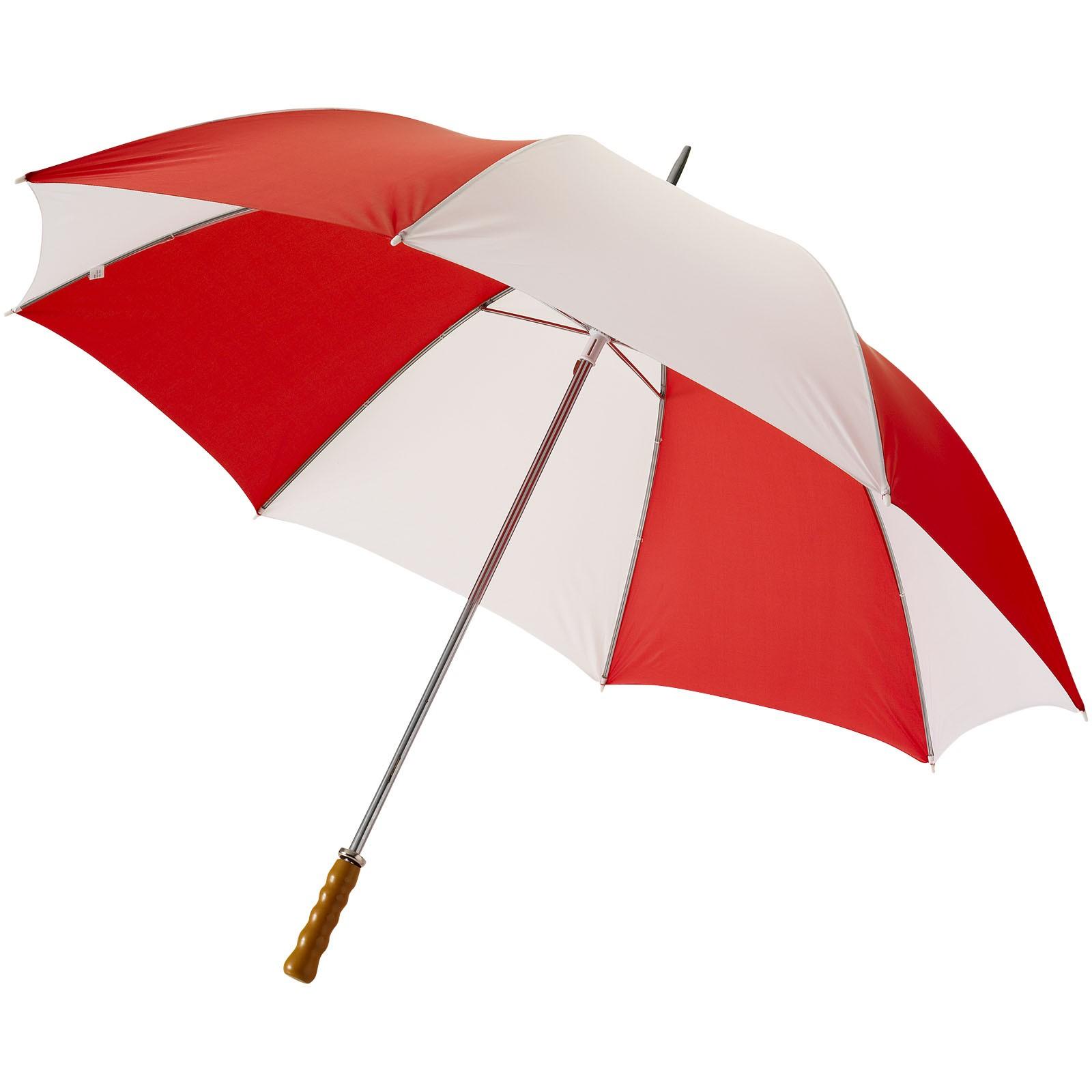 """30"""" golfový deštník Karl s dřevěnou rukojetí - Red / White Solid"""