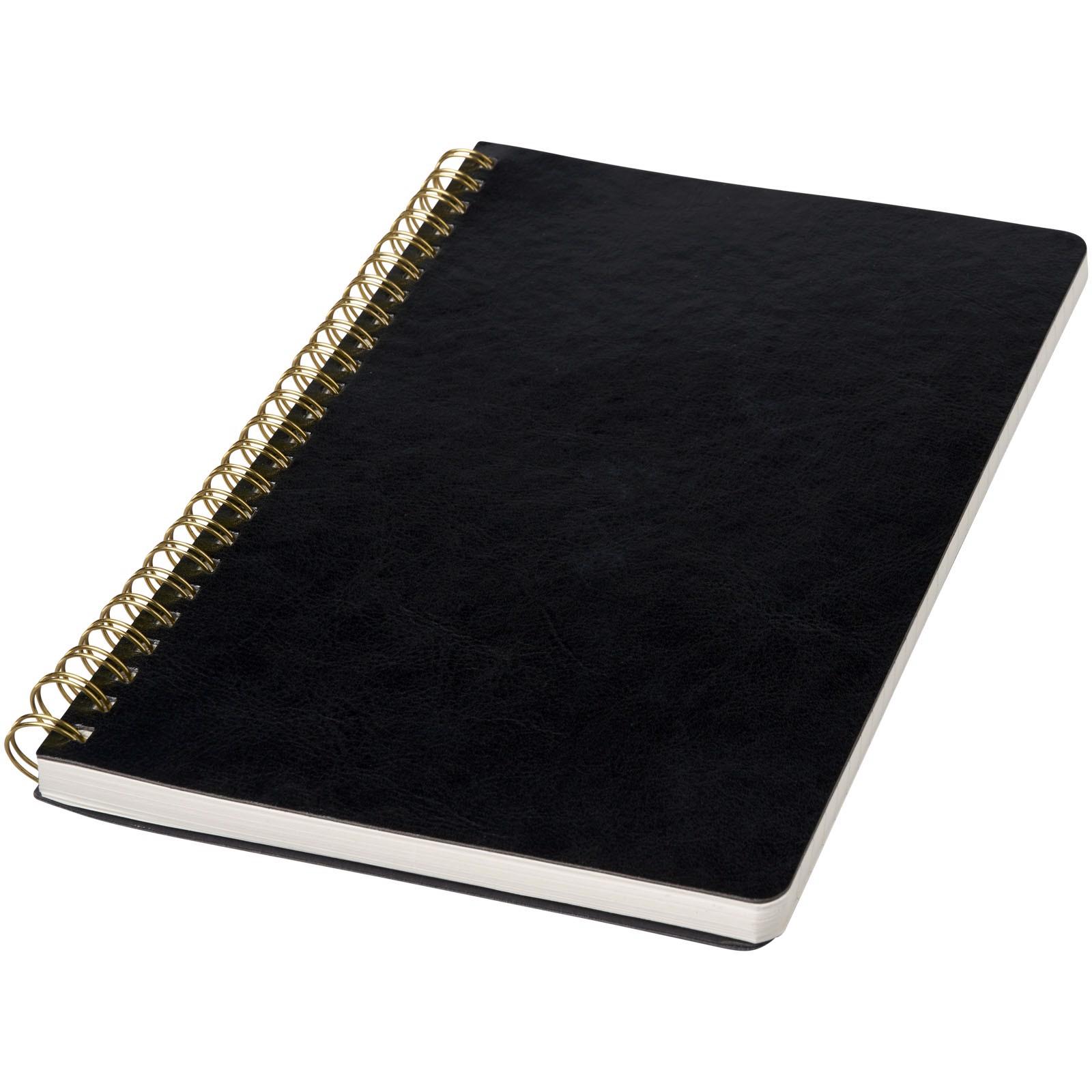 Deník A5 Spiraly s koženým vzhledem - Černá