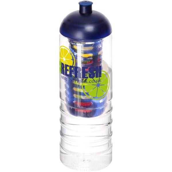 H2O Treble 750 ml lahev s infuzérem a kupolovitým víčkem - Průhledná / Modrá