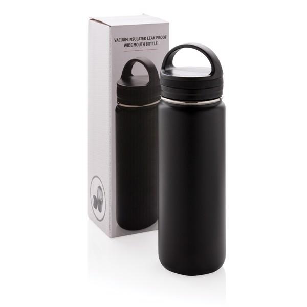Vákuum szivárgásmentes palack széles ivónyílással - Fekete