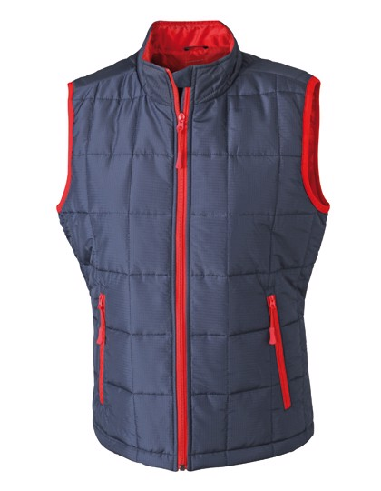 Ladies` Padded Light Weight Vest - Navy / Red / S