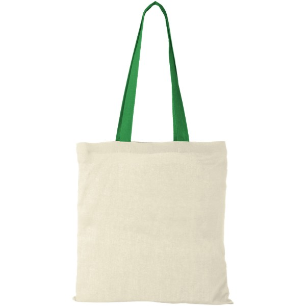 Nevada 100 g/m² cotton tote bag coloured handles - Natural / Bright green