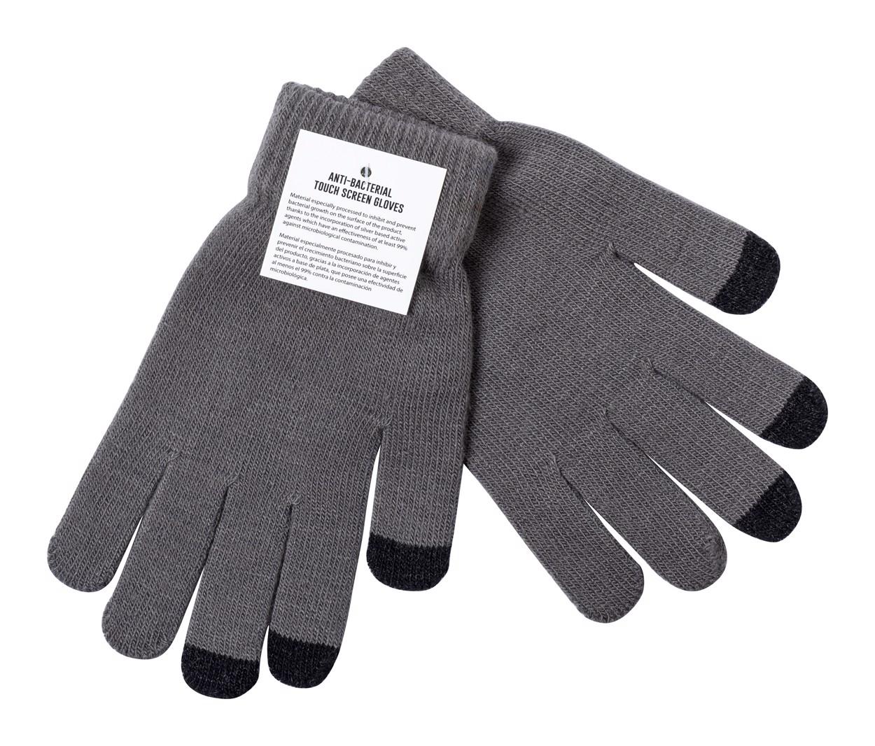 Antibakterijske rokavice za zaslone na dotik Tenex - Ash Grey / Black