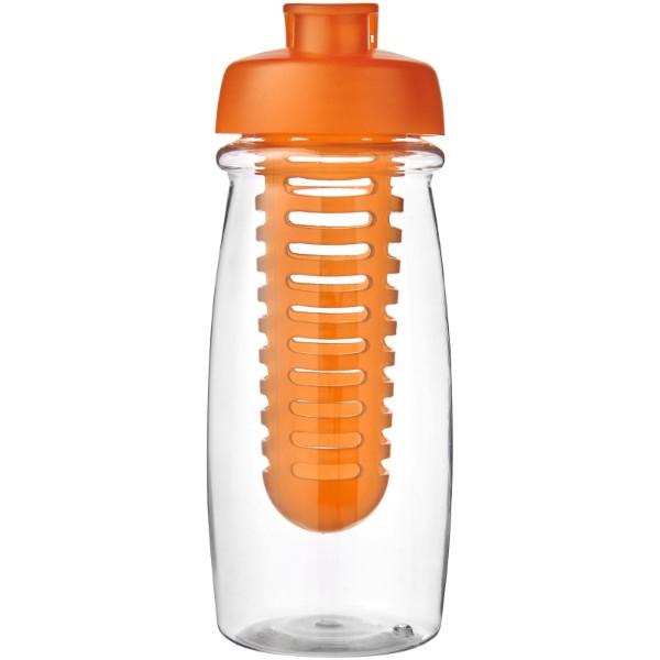 H2O Pulse® 600 ml flip lid sport bottle & infuser - Transparent / Orange