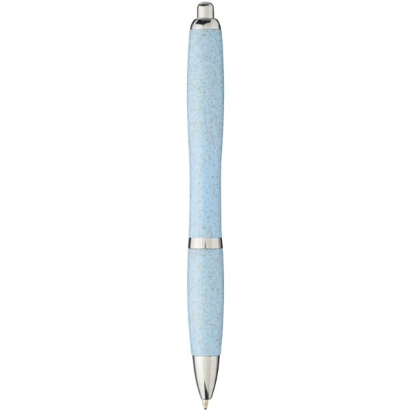 Długopis Nash ze słomy pszenicznej z chromowaną skuwką - Niebieski