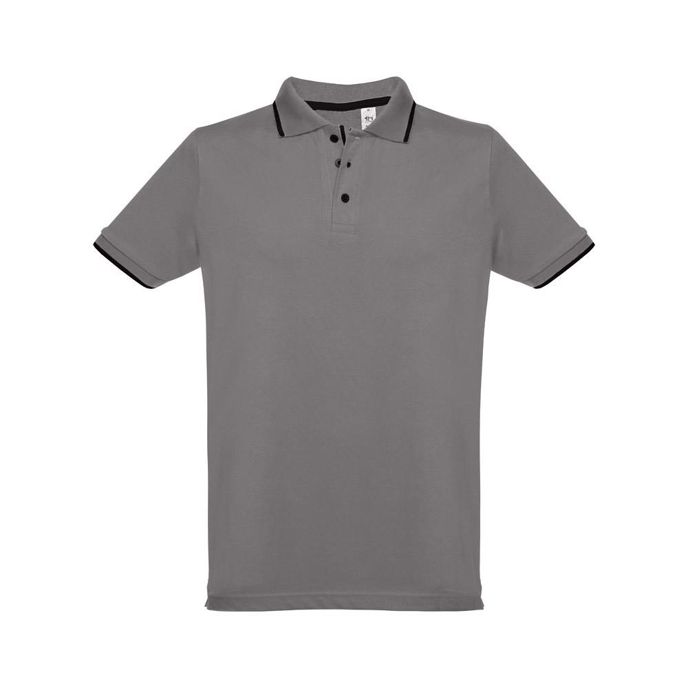 ROME. Ανδρική πόλο μπλούζα slim fit - Γκρί / L
