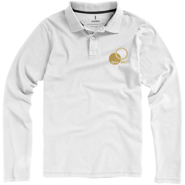 Oakville Langarm Poloshirt für Herren - weiss / XS