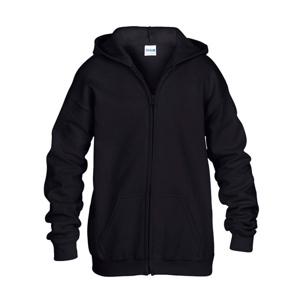 Kids Sweatshirt 255/270 g/m2 Kids Full Zip Hooded Sw 18600B - Black / S