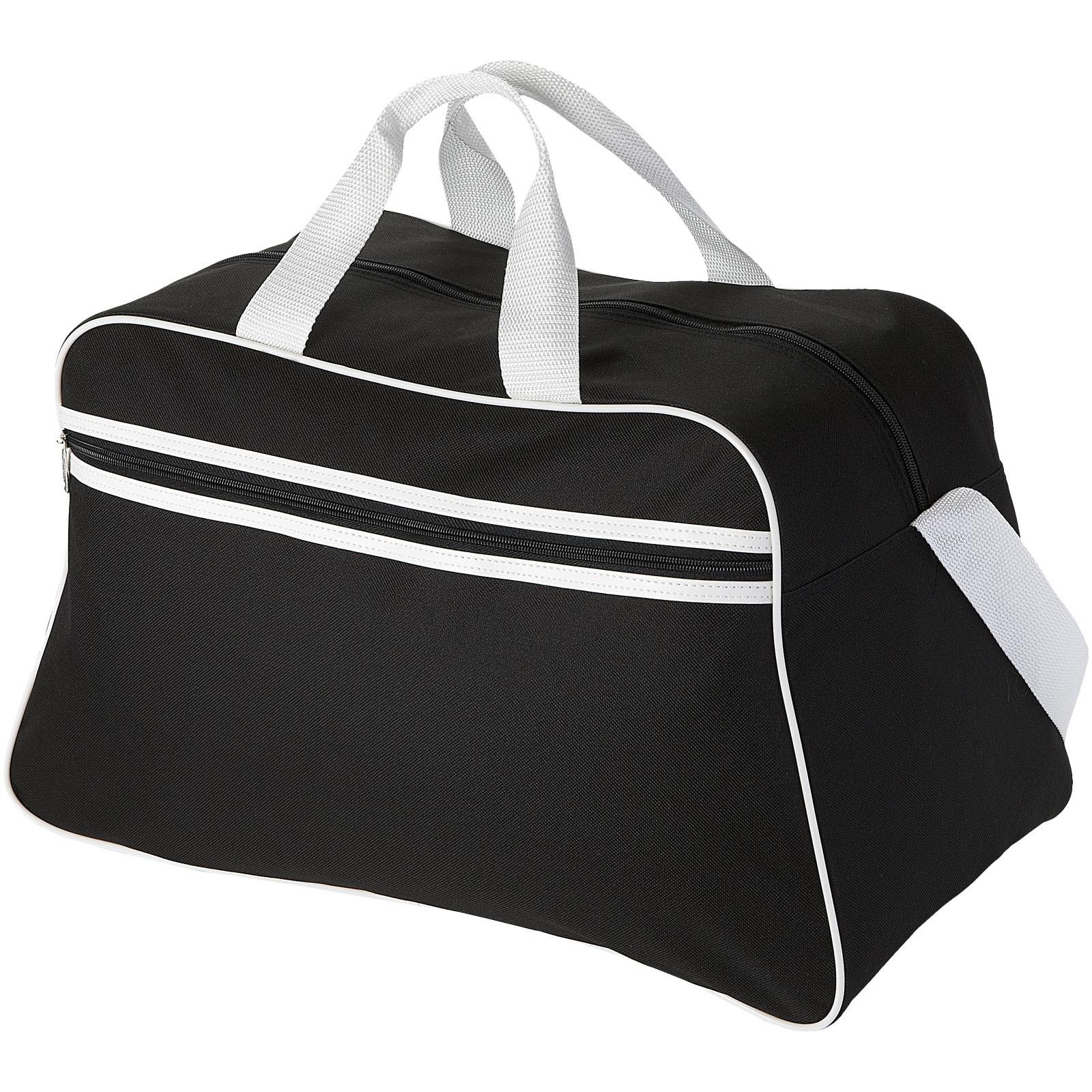 San Jose 2-stripe sports duffel bag - Solid black / White