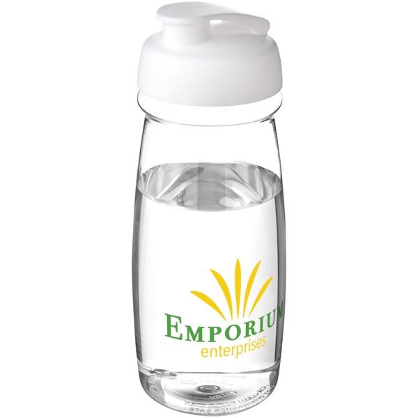 H2O Pulse® Bidón deportivo con Tapa Flip de 600 ml - Transparente / Blanco
