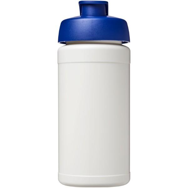 Baseline® Plus 500 ml Sportflasche mit Klappdeckel - Weiss / Blau