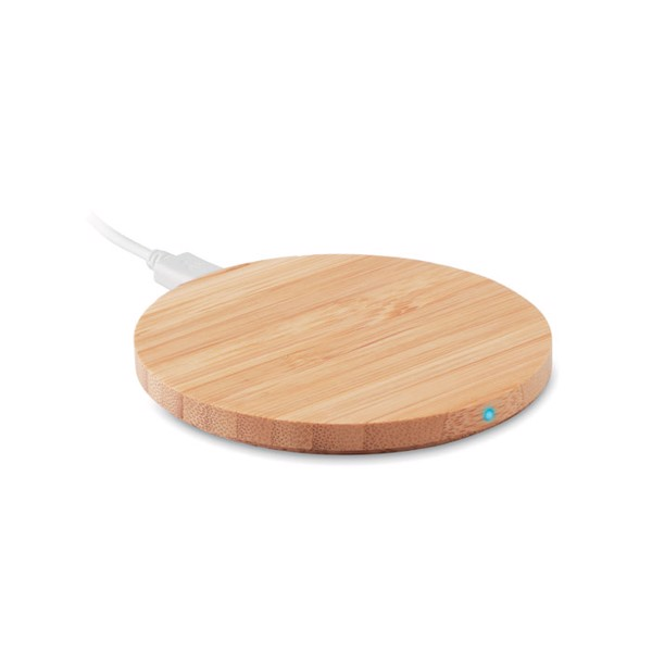 Round wireless charger bamboo Rundo