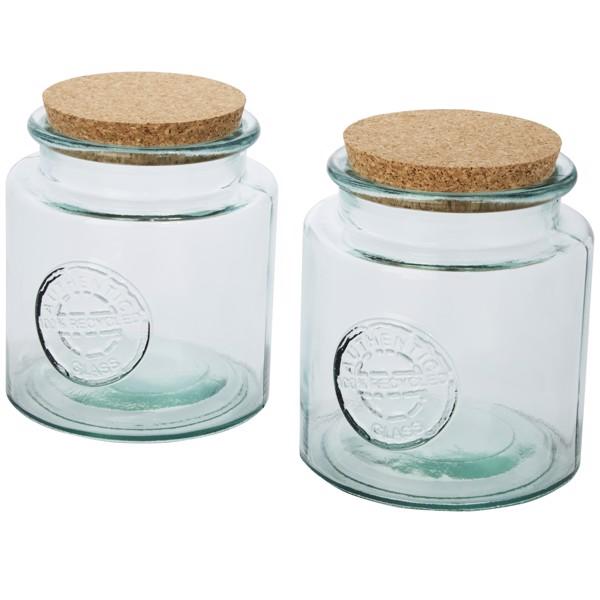 """Juego de dos recipientes de vidrio reciclado de 1500ml """"Aire"""""""