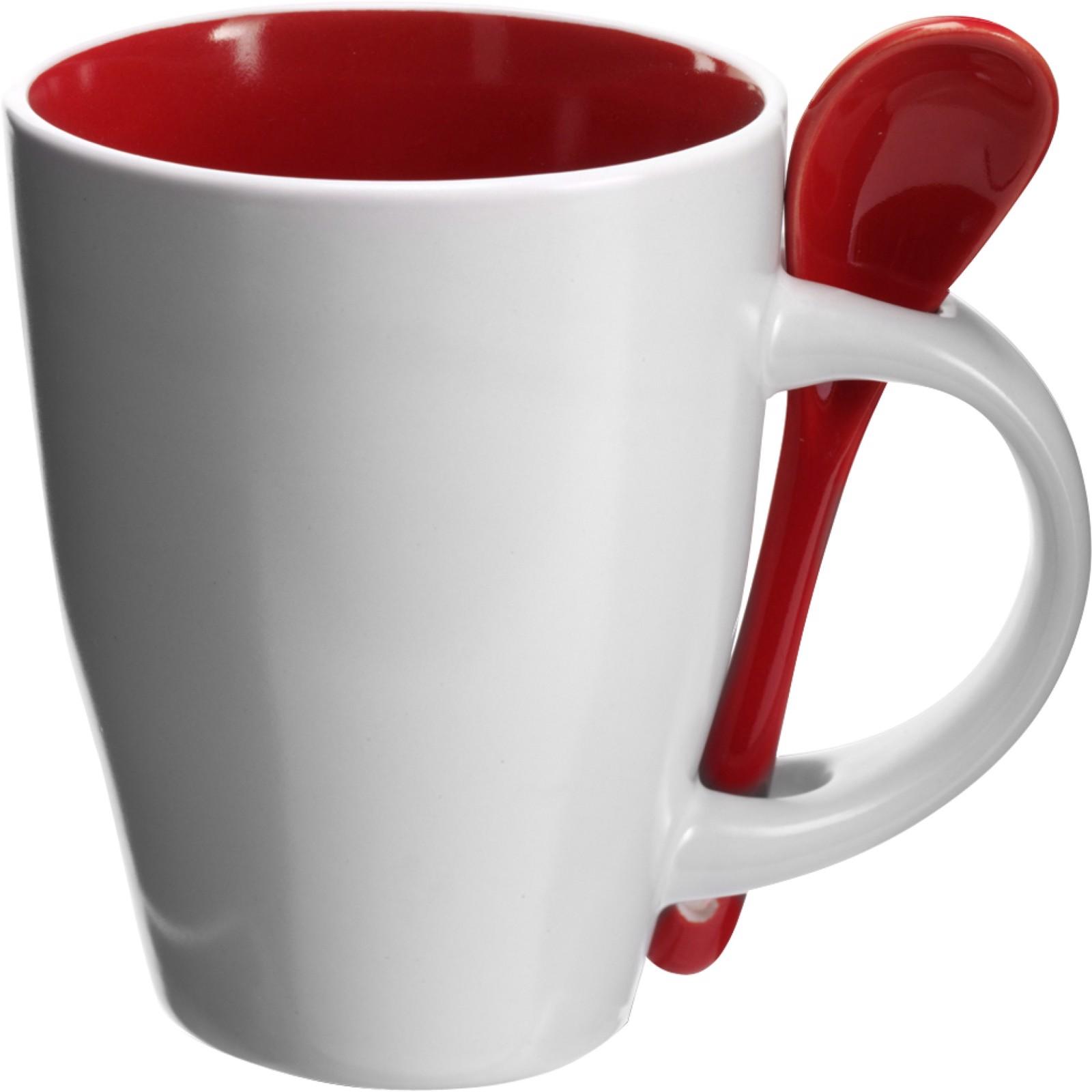 Ceramic mug with spoon - Red