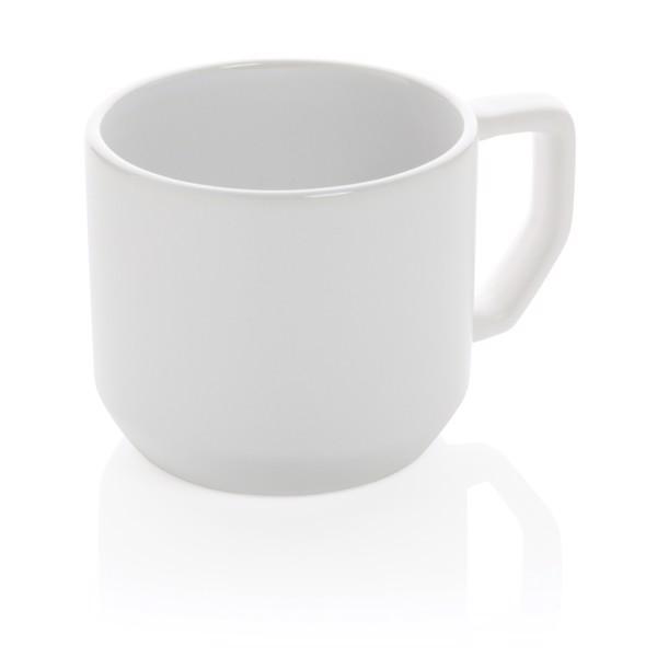 Taza de cerámica moderna - Blanco / Blanco