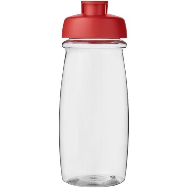 H2O Pulse® Bidón deportivo con Tapa Flip de 600 ml - Transparente / Rojo