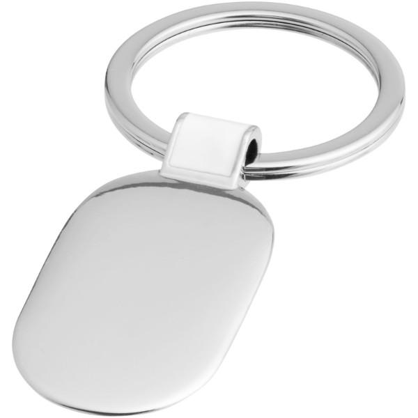 Barto oval keychain - White / Silver